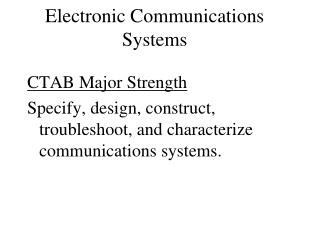 Electronic Communications Systems