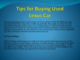 Tips for Buying Used Lexus Car