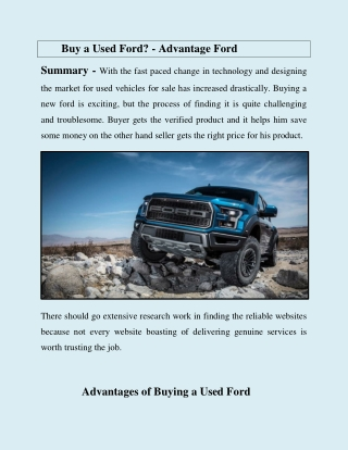 Buy a Used Ford? - Advantage Ford