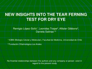 NEW INSIGHTS INTO THE TEAR FERNING TEST FOR DRY EYE