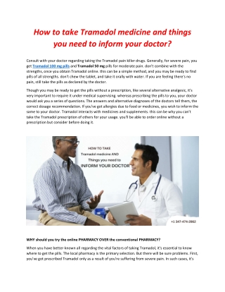 How to take Tramadol medicine and things you need to inform your doctor?