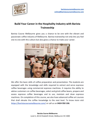 Build Your Career in the Hospitality Industry with Barista Traineeship