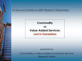 CII Annual Conference 2005: Research Presentation
