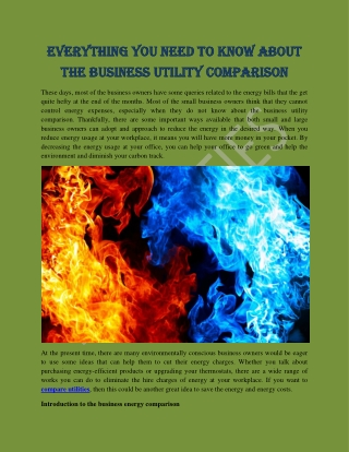 Everything you need to know about the business utility comparison