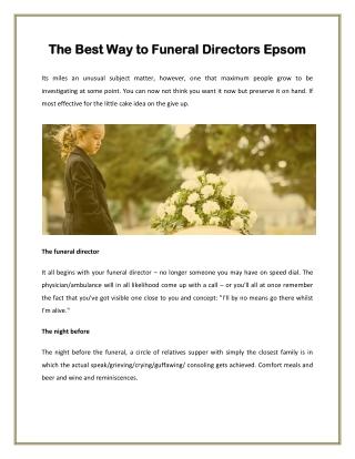 The Best Way to Funeral Directors Epsom
