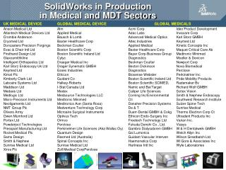 SolidWorks in Production  in Medical and MDT Sectors
