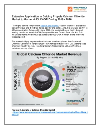 Calcium Chloride Market Worth US$ 2.4 Bn by 2026
