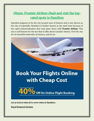 Obtain Frontier Airlines Deals and Visit the Top- Rated Spots in Hamilton