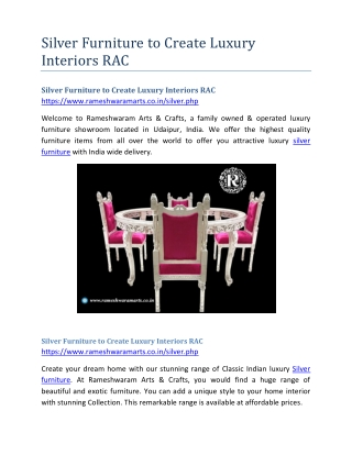 Silver Furniture to Create Luxury Interiors RAC