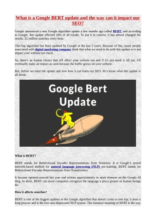 What is a Google BERT update and the way can it impact our SEO?