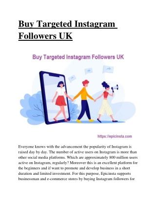 Buy Targeted Instagram Followers UK