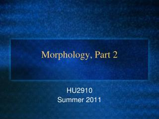 Morphology, Part 2