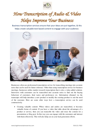 How Transcription of Audio & Video Helps Improve Your Business