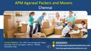 APM Agarwal Packers and Movers Chennai
