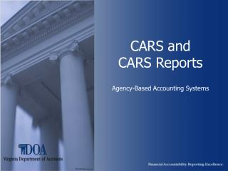 CARS and  CARS Reports Agency-Based Accounting Systems