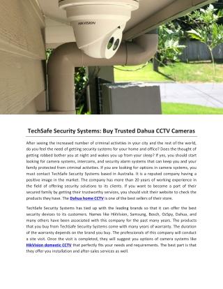 TechSafe Security Systems: Buy Trusted Dahua CCTV Cameras