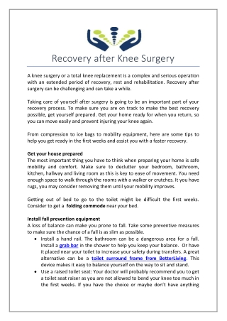 Recovery after Knee Surgery