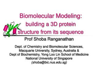 Biomolecular Modeling: building a 3D protein  structure from its sequence