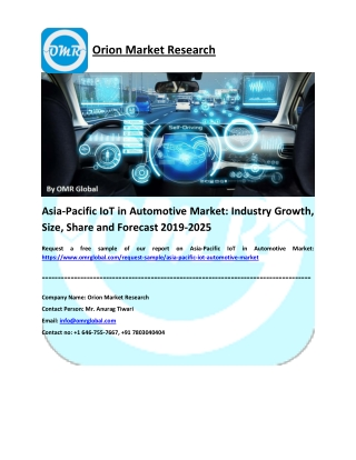 Asia-Pacific IoT in Automotive Market: Research and Forecast 2019-2025