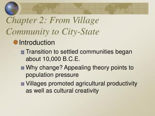 Chapter 2: From Village Community to City-State