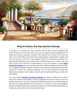 Ming Art Gallery: Buy Reproduction Paintings