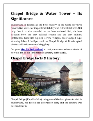 Chapel Bridge & Water Tower – Its Significance