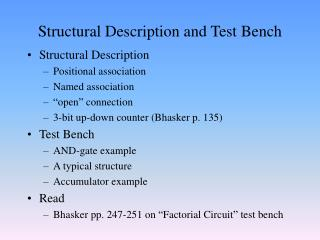 Structural Description and Test Bench