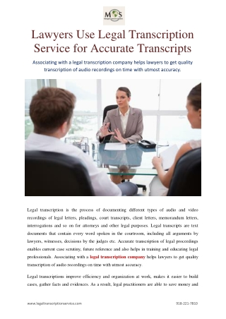 Lawyers Use Legal Transcription Service for Accurate Transcripts