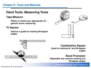 Hand Tools: Measuring Tools Tape Measure Plastic or metal case, appropriate for general scenic measuring Tri Square Used
