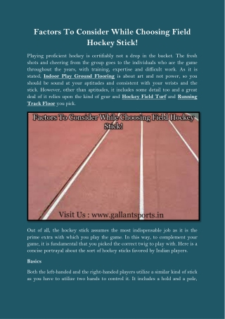 Factors To Consider While Choosing Field Hockey Stick