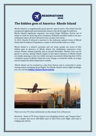 The hidden gem of America- Rhode Island