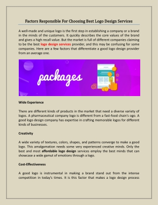 Factors Responsible For Choosing Best Logo Design Services
