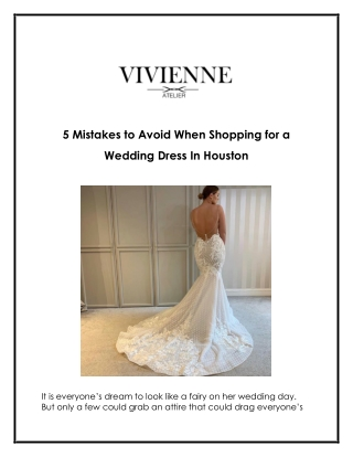 5 Mistakes to Avoid When Shopping for a Wedding Dress In Houston