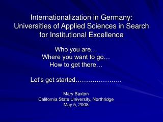 Internationalization in Germany: Universities of Applied Sciences in Search for Institutional Excellence