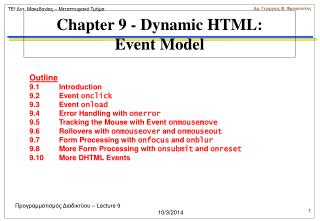 Chapter 9 - Dynamic HTML:  Event Model