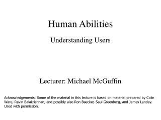 Human Abilities