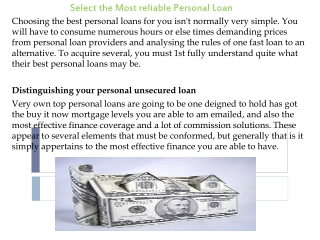 Select the Most reliable Personal Loan