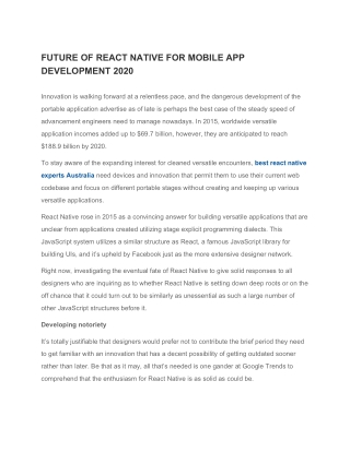 React development agency Australia