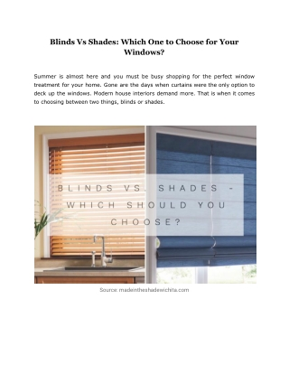 Blinds Vs Shades: Which One to Choose for Your Windows?