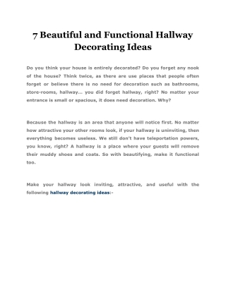 7 Beautiful and Functional Hallway Decorating Ideas