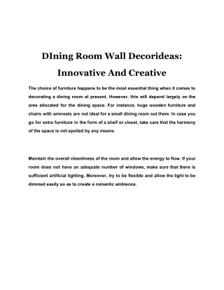 Dining Room Wall Decor Ideas: Innovative And Creative