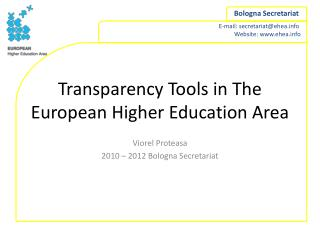 Transparency Tools in The European Higher Education Area
