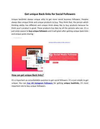 Get unique Back-links for Social Followers