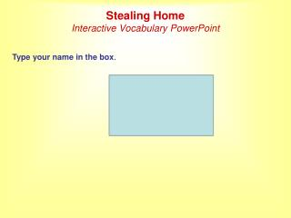 Stealing Home Interactive Vocabulary PowerPoint