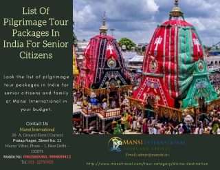 List of pilgrimage tour packages in india for senior citizens