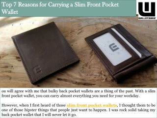 Top 7 Reasons for Carrying a Slim Front Pocket Wallet