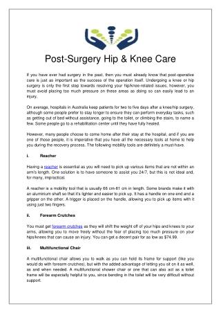 Post-Surgery Hip & Knee Care