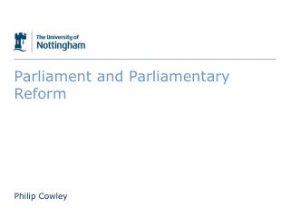 Parliament and Parliamentary Reform