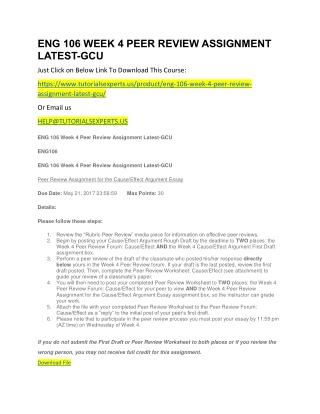 ENG 106 WEEK 4 PEER REVIEW ASSIGNMENT LATEST-GCU