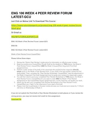 ENG 106 WEEK 4 PEER REVIEW FORUM LATEST-GCU